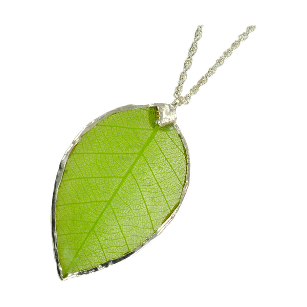 Green Rubber Tree Leaf Pendant with Silver 18 Inch Chain