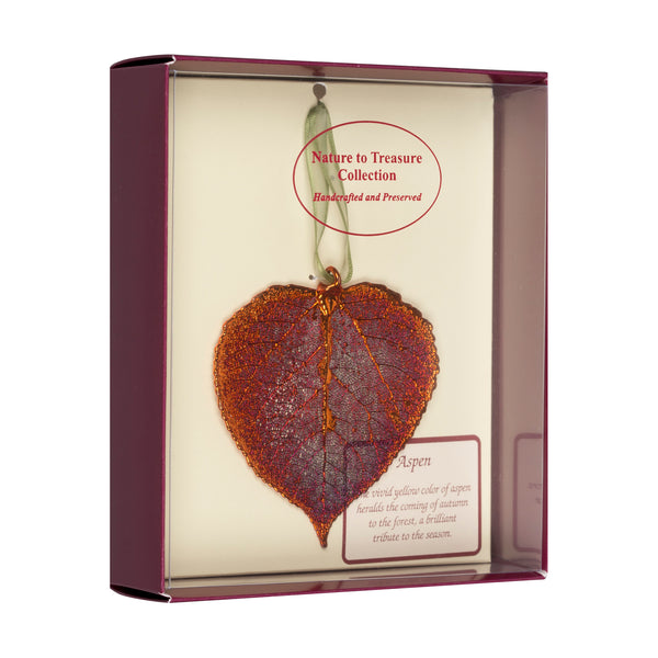 Aspen<br>Real Leaf Ornaments<br>Dipped in Iridescent Copper<br>Comes Gift Boxed - GoldRoses.com