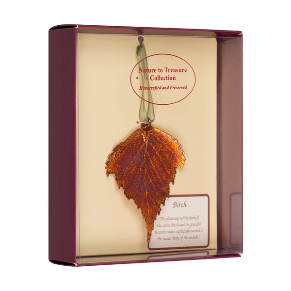 Birch<br>Real Leaf Ornaments<br>Dipped in Iridescent Copper<br>Comes Gift Boxed - GoldRoses.com
