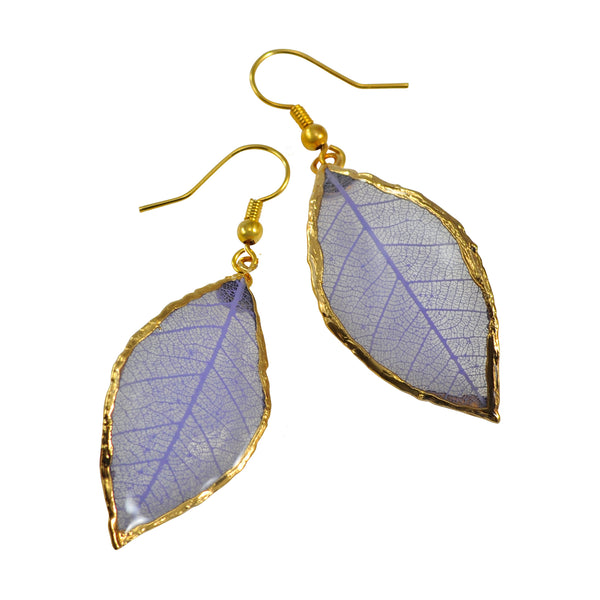 Lilac - Purple<br>Rubber Tree Leaf Earrings<br>with Gold French Hooks<br>Gift Boxed - GoldRoses.com