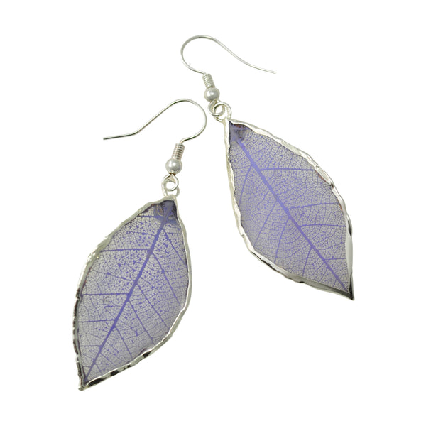 Lilac - Purple<br>Rubber Tree Leaf Earrings<br>with Silver French Hooks<br>Gift Boxed - GoldRoses.com
