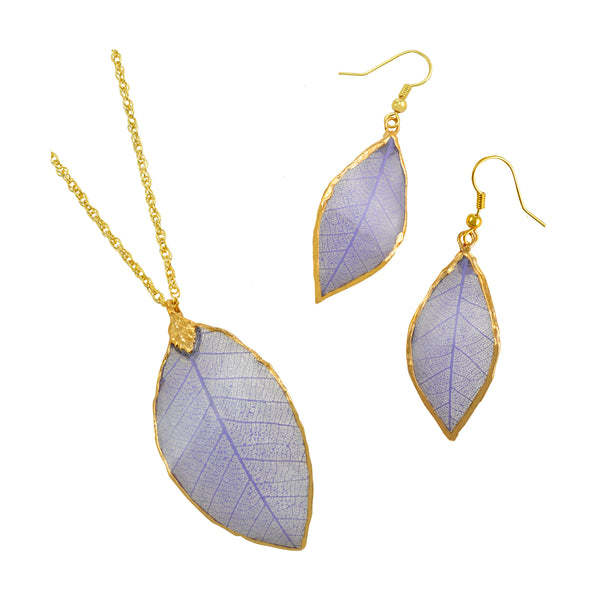 Lilac - Purple<br>Rubber Tree Leaf Earrings & Pendant<br>with Gold 18 Inch Chain<br>Gift Boxed - GoldRoses.com