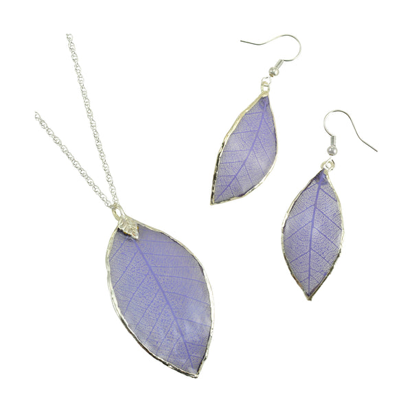 Lilac - Purple<br>Rubber Tree Leaf Earrings & Pendant<br>with Silver 18 Inch Chain<br>Gift Boxed - GoldRoses.com