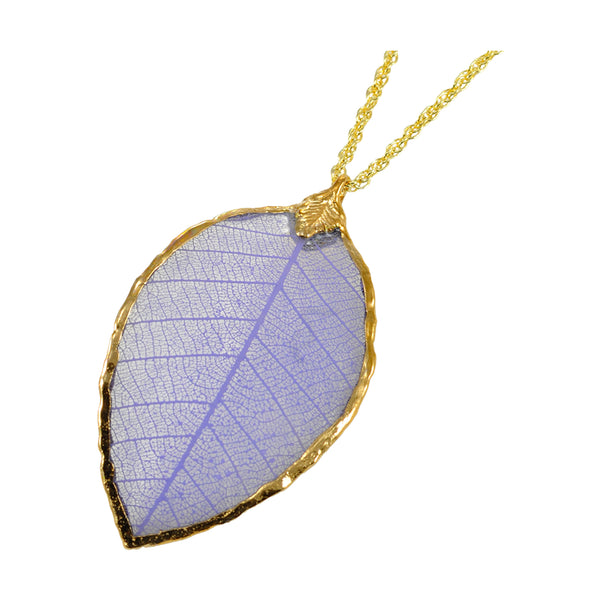 Lilac Purple Rubber Tree Leaf Pendant with 18 Inch Gold Chain