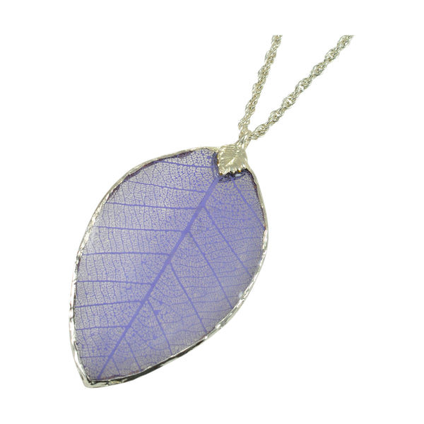 Lilac Purple Rubber Tree Leaf Pendant with Silver 18 Inch Chain
