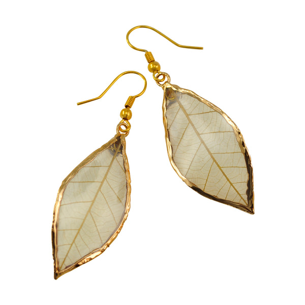 Natural Rubber Tree Leaf Earrings with Gold French Hooks
