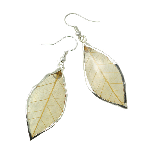 Natural Rubber Tree Leaf Earrings with Silver French Hooks