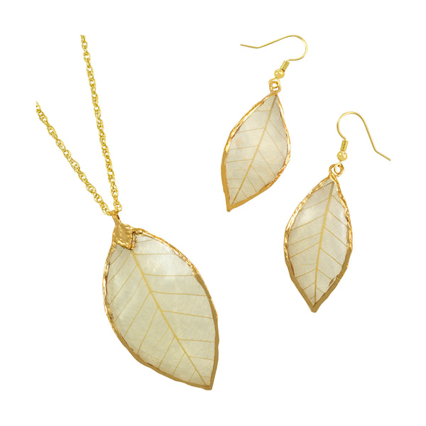Natural<br>Rubber Tree Leaf Earrings & Pendant<br>with Gold 18 Inch Chain<br>Gift Boxed - GoldRoses.com