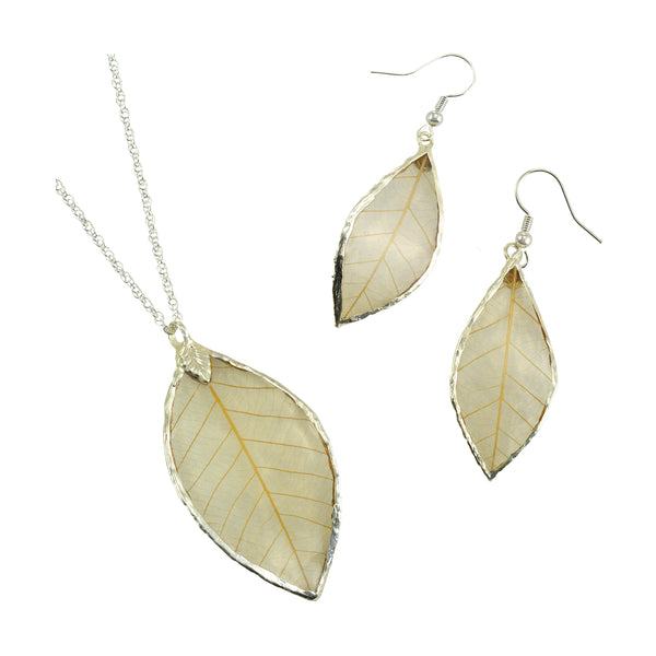 Natural<br>Rubber Tree Leaf Earrings & Pendant<br>with Silver 18 Inch Chain<br>Gift Boxed - GoldRoses.com