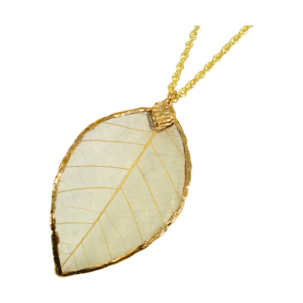 Natural Rubber Tree Leaf Pendant with 18 Inch Gold Chain