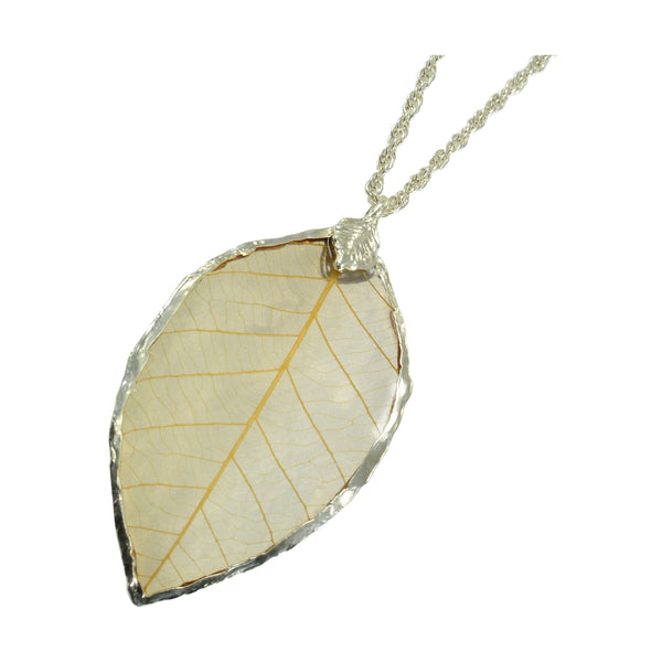 Natural Rubber Tree Leaf Pendant with 18 Inch Silver Chain