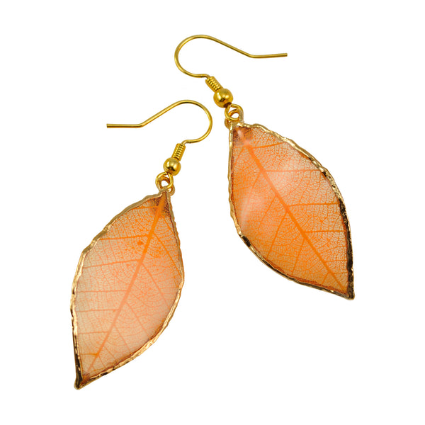 Orange Peach Rubber Tree Leaf Earrings with Gold French Hooks