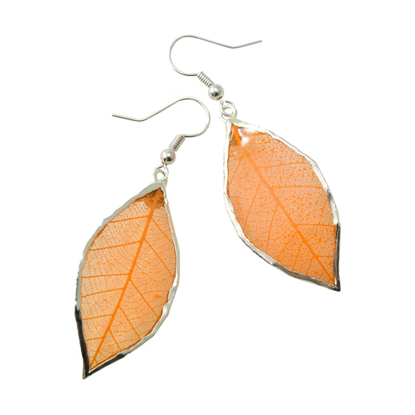 Orange Peach Rubber Tree Leaf Earrings with Silver French Hooks
