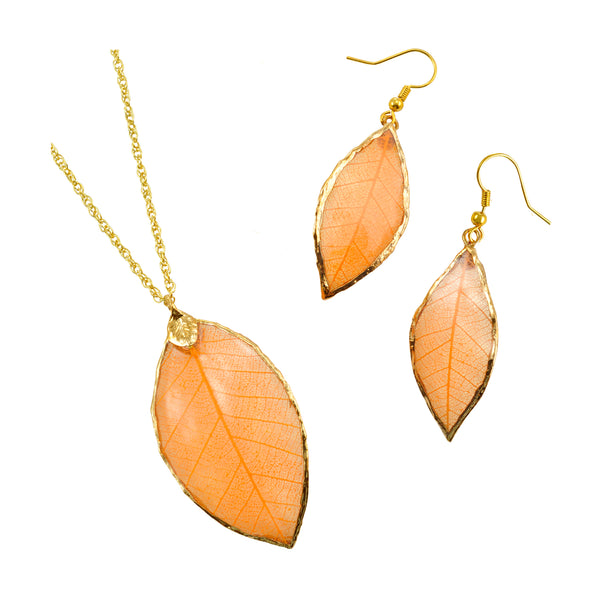 Orange - Peach<br>Rubber Tree Leaf Earrings & Pendant<br>with Gold 18 Inch Chain<br>Gift Boxed - GoldRoses.com