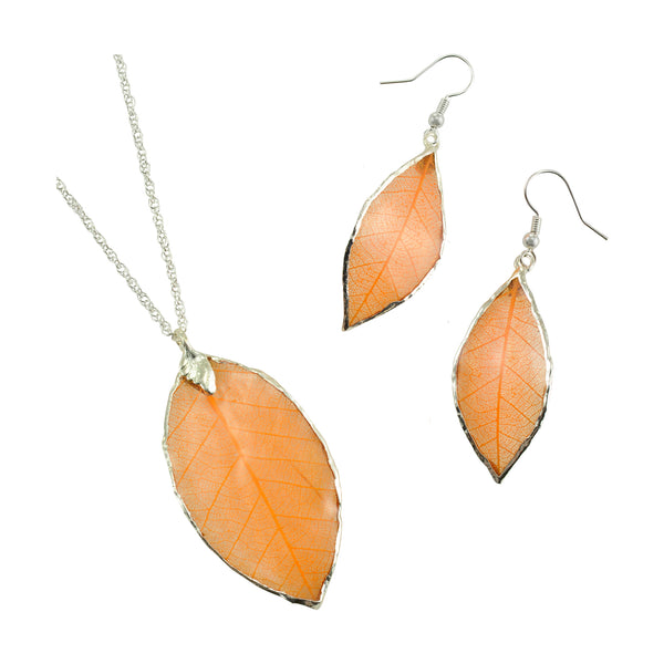 Orange - Peach<br>Rubber Tree Leaf Earrings & Pendant<br>with Silver 18 Inch Chain<br>Gift Boxed - GoldRoses.com