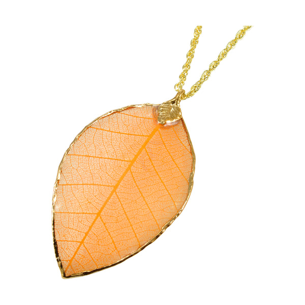 Orange Peach Rubber Tree Leaf Pendant with 18 Inch Gold Chain