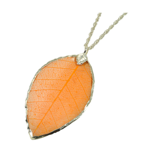 Orange Peach Rubber Tree Leaf Pendant with 18 Inch Silver Chain