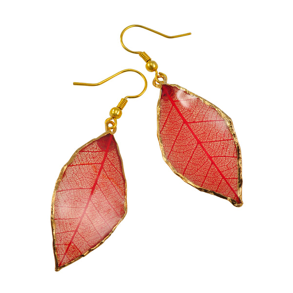 Red Rubber Tree Leaf Earrings with Gold French Hooks