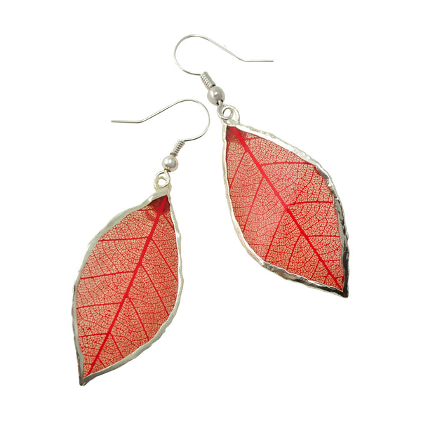 Red Rubber Tree Leaf Earrings with Silver French Hooks