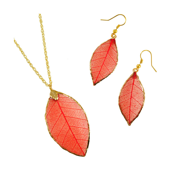 Red<br>Rubber Tree Leaf Earrings & Pendant<br>with Gold 18 Inch Chain<br>Gift Boxed - GoldRoses.com