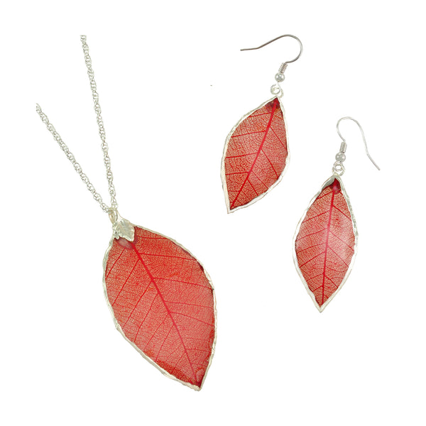 Real Red Rubber Tree Leaf Earrings and Pendant Set