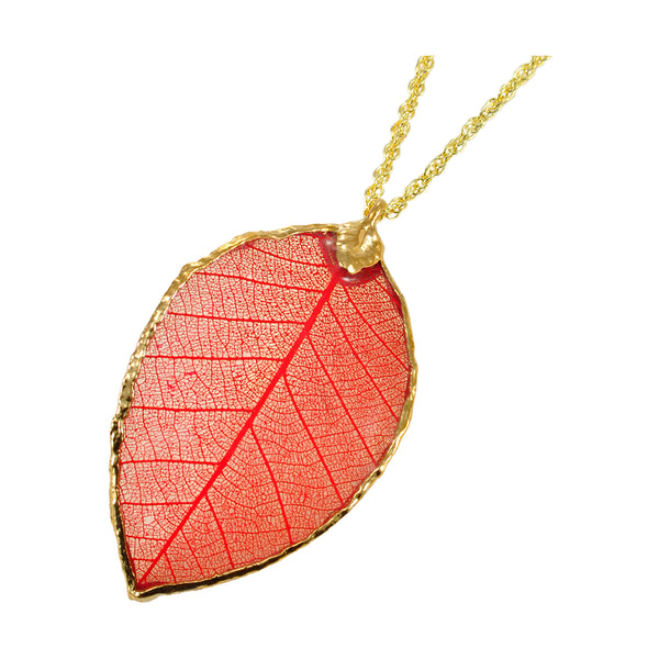 Red Rubber Tree Leaf Pendant with 18 Inch Gold Chain