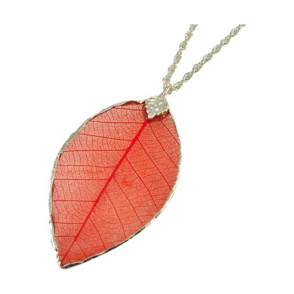 Red Rubber Tree Leaf Pendant with 18 Inch Silver Chain