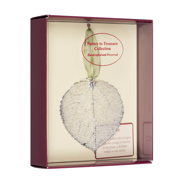 Aspen Real Leaf Ornaments Dipped in Silver - Comes Gift Boxed