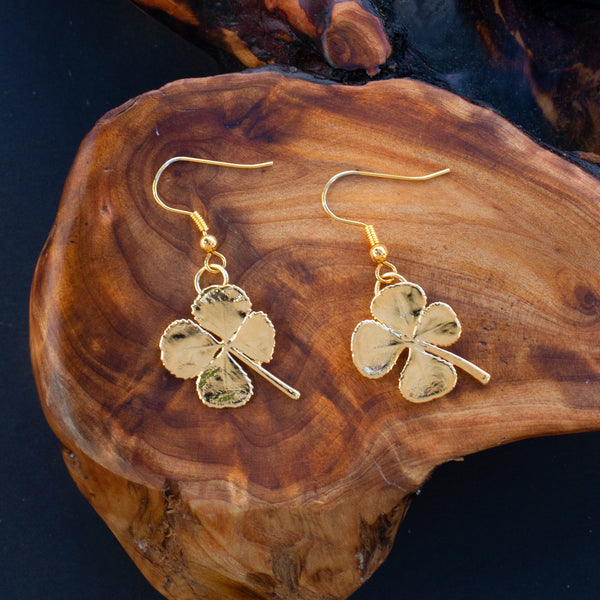 24k Gold Four Leaf Clover Lucky Earrings