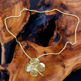 24k Gold Large Real 4 Leaf Clover Pendant