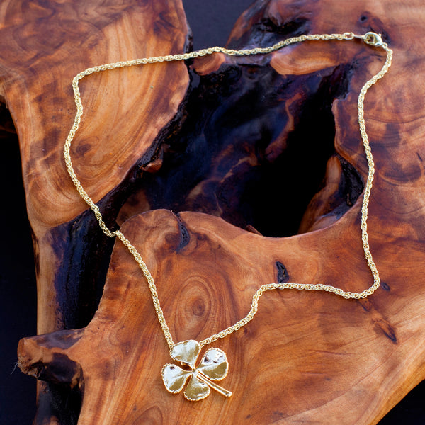 24k Gold Small Real 4 Leaf Clover Pendant