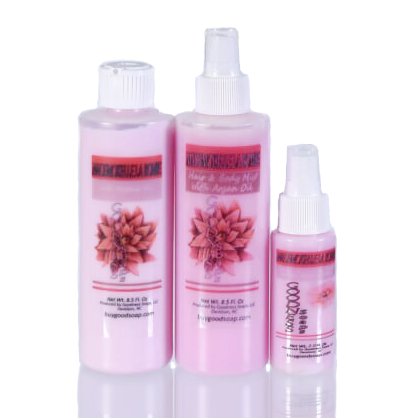 Travel Sized Mademoiselle scented Hair and Body mist with Argan Oil and Vitamin E, body spray, Goodness Soaps