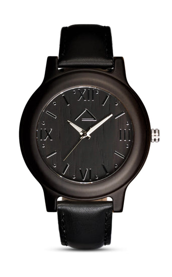 GALZIG with black leather strap - WOOD WATCHES WOODWATCH - ECO-FRIENDLY WATCHES HEADPEACE - HEADPEACE