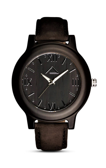 GALZIG with dark brown suede strap - WOOD WATCHES WOODWATCH - ECO-FRIENDLY WATCHES HEADPEACE - HEADPEACE