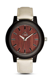 GAMPEN with beige suede leather strap - WOOD WATCHES WOODWATCH - ECO-FRIENDLY WATCHES HEADPEACE - HEADPEACE