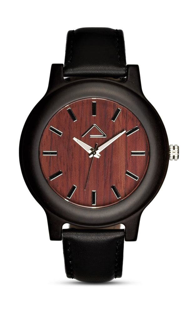 GAMPEN with black leather strap - WOOD WATCHES WOODWATCH - ECO-FRIENDLY WATCHES HEADPEACE - HEADPEACE