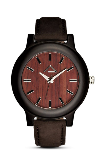 GAMPEN with dark brown suede leather strap - WOOD WATCHES WOODWATCH - ECO-FRIENDLY WATCHES HEADPEACE - HEADPEACE