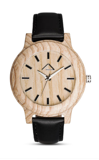 KAPALL with black leather strap - WOOD WATCHES WOODWATCH - ECO-FRIENDLY WATCHES HEADPEACE - HEADPEACE