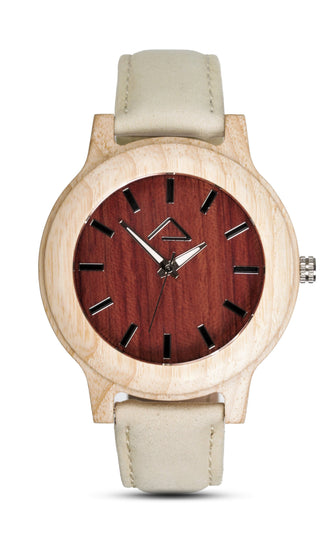KUCHEN with beige suede strap - WOOD WATCHES WOODWATCH - ECO-FRIENDLY WATCHES HEADPEACE - HEADPEACE