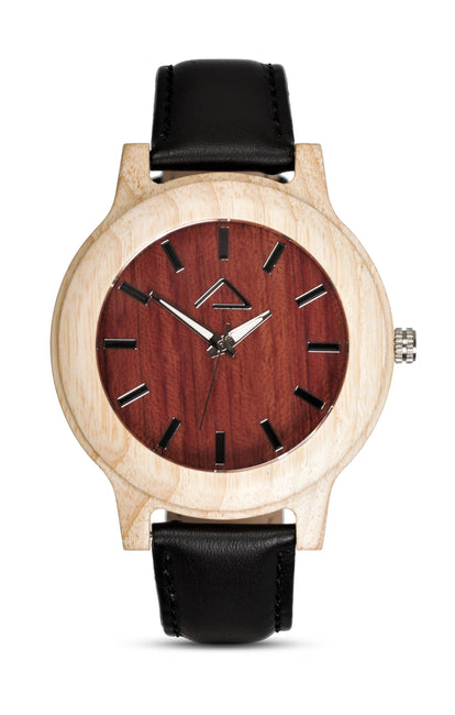 KUCHEN with black leather strap - WOOD WATCHES WOODWATCH - ECO-FRIENDLY WATCHES HEADPEACE - HEADPEACE