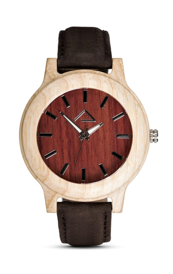 KUCHEN with dark brown suede strap - WOOD WATCHES WOODWATCH - ECO-FRIENDLY WATCHES HEADPEACE - HEADPEACE