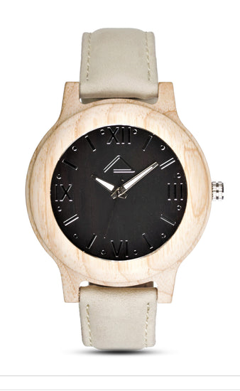 MATTUN with beige suede leather strap - WOOD WATCHES WOODWATCH - ECO-FRIENDLY WATCHES HEADPEACE - HEADPEACE