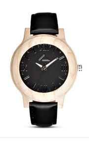 MATTUN with black leather strap - WOOD WATCHES WOODWATCH - ECO-FRIENDLY WATCHES HEADPEACE - HEADPEACE