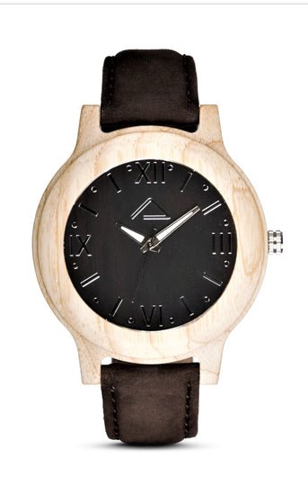 MATTUN with dark brown suede leather strap - WOOD WATCHES WOODWATCH - ECO-FRIENDLY WATCHES HEADPEACE - HEADPEACE