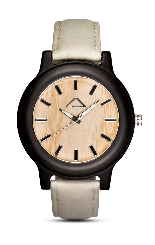 PATTERIOL with beige suede leather strap - WOOD WATCHES WOODWATCH - ECO-FRIENDLY WATCHES HEADPEACE - HEADPEACE