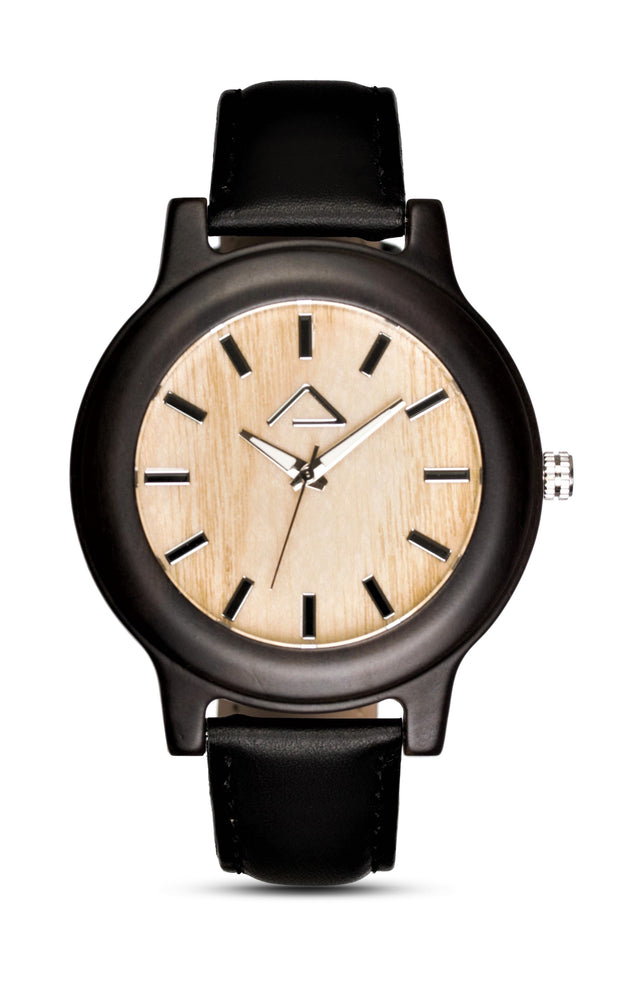 PATTERIOL with black leather strap - WOOD WATCHES WOODWATCH - ECO-FRIENDLY WATCHES HEADPEACE - HEADPEACE