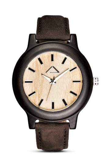 PATTERIOL with dark brown suede leather strap - WOOD WATCHES WOODWATCH - ECO-FRIENDLY WATCHES HEADPEACE - HEADPEACE