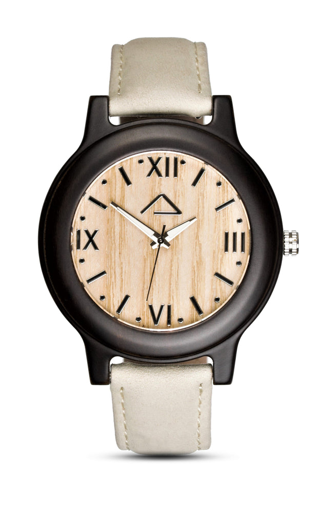 SCHINDLER with beige suede leather strap - WOOD WATCHES WOODWATCH - ECO-FRIENDLY WATCHES HEADPEACE - HEADPEACE