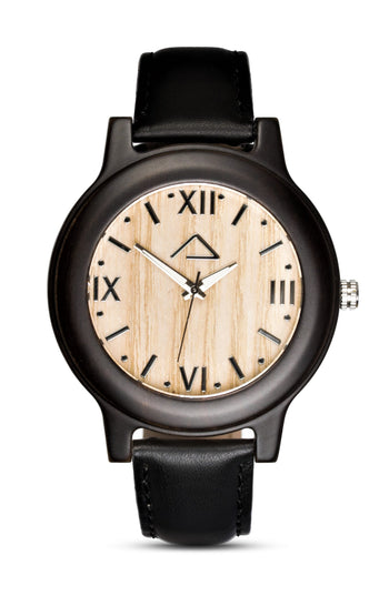 SCHINDLER with black leather strap - WOOD WATCHES WOODWATCH - ECO-FRIENDLY WATCHES HEADPEACE - HEADPEACE