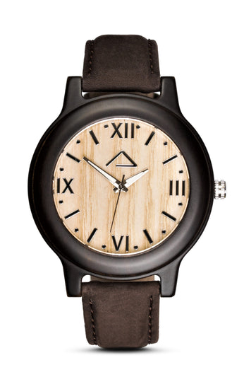 SCHINDLER with dark brown suede leather strap - WOOD WATCHES WOODWATCH - ECO-FRIENDLY WATCHES HEADPEACE - HEADPEACE